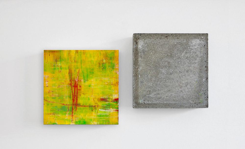 Wandstück Y-R-G  008   I   2016   I   Acryl hinter Glas / Beton   I   jeweils 30 x 30 x 6.5 cm