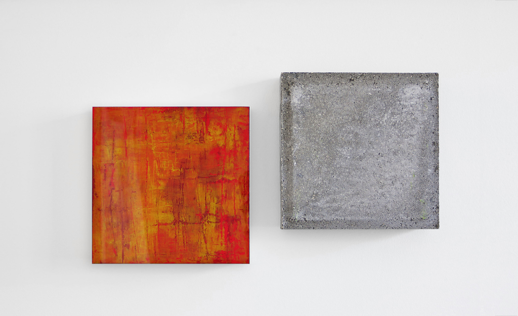 Wandstück Y-R  005   I   2016   I   Acryl hinter Glas / Beton   I   jeweils 30 x 30 x 6.5 cm