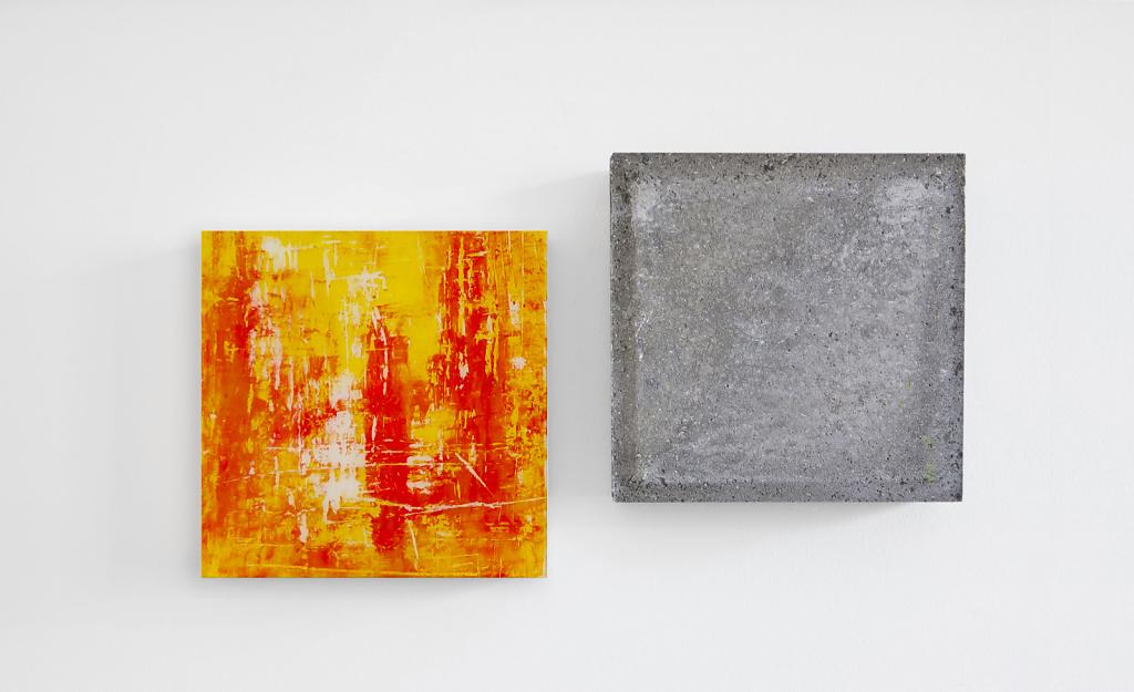 Wandstück Y-R  003   I   2016   I   Acryl hinter Glas / Beton   I   jeweils 30 x 30 x 6.5 cm