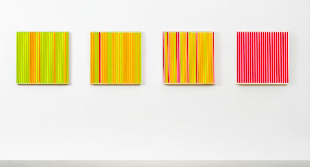 Stripes - 1 OG   I   2011  I   Acrylglas / Kreidegrund auf MDF   I   je 59 x 59 x 6 c