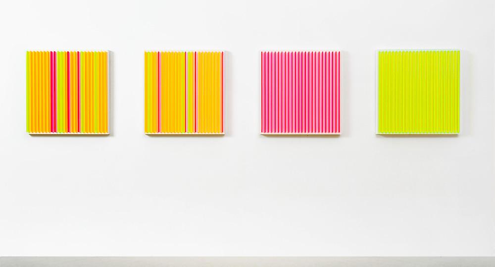 Stripes - 2 OG   I   2011   I   Acrylglas / Kreidegrund auf MDF   I   je 59 x 59 x 6 cm